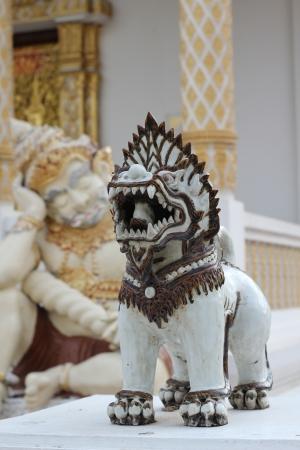 Singha statue in the temple, Watpadarapirom, Maerim, Chiangmai, Thailand photo