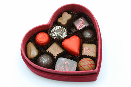 A red box of valentine chocolate for someone special