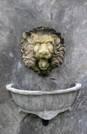 Beautiful antique wash basin cabinet with a stoned lion head and vessel sink on concrete wall. photo