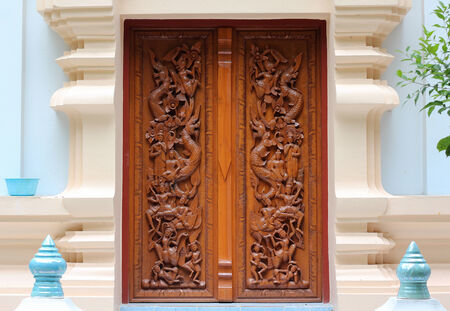 Thai wooden craft panel. photo