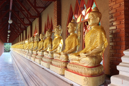 rom: A row of seated buddhas at the temple in Wat Rom Luang, Maetang, Chiangmai, Thailand. Stock Photo