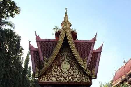 rom: Thai temple roof in Wat Rom Luang, Maetang, Chiangmai, Thailand.