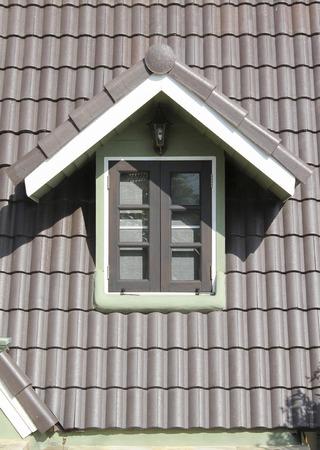 Brown roof tile in carpathians castle photo