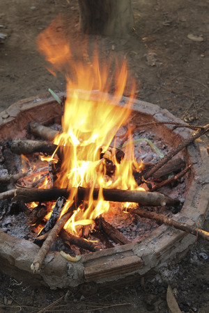 night stick: Campfire in fire pit at campsite.