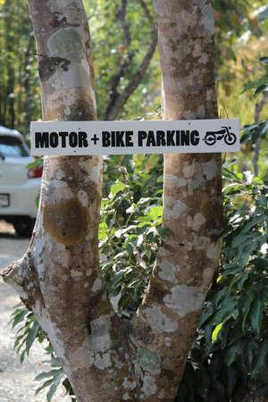 bike parking: Motor and bike parking sign.