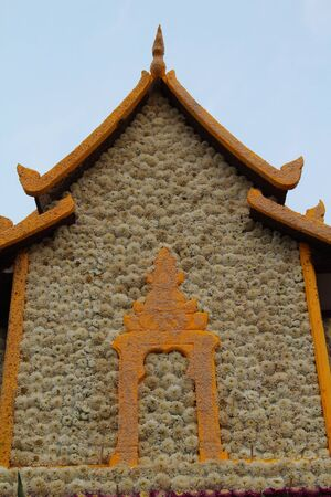 church flower: Church made from flowers, The 39th Chiang Mai Flower Festival 2015.