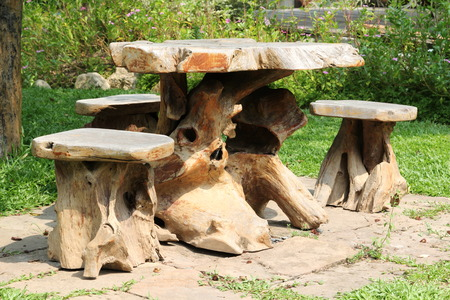 timber bench seat: Garden furniture made from old stump.