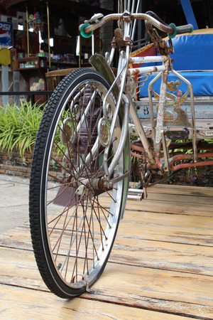tricycle: Old tricycle bicycle taxi in Thailand.