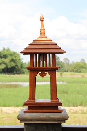 garden lamp: Tropical garden lamp made from teak wood in the garden.