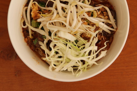 vermicelli: Rice vermicelli, Northern Thai food and vegetable.