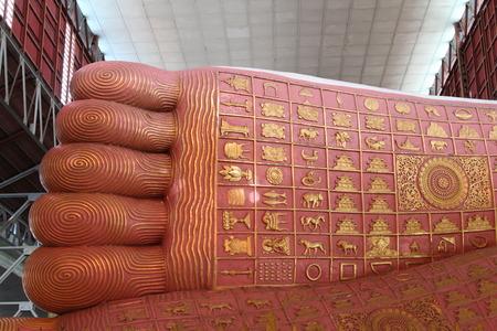 Chauk Htat Gyi reclining buddha, Chaukhtatgyi temple in Yangon, Myanmar. Stock Photo