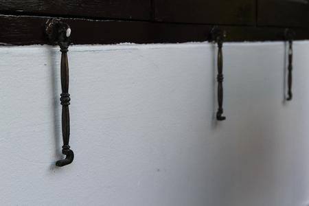 latch: Latch window, window hook on window frame. Stock Photo