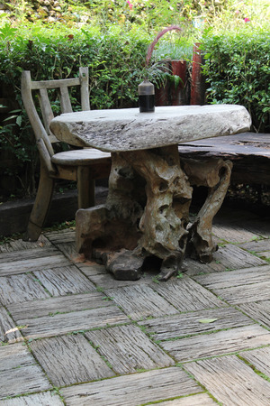 old furniture: Garden furniture made from old stump.