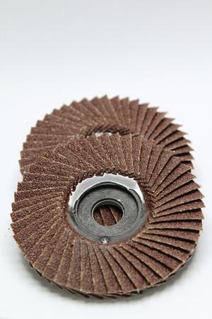 flap: Closeup of red color flap abrasive disc.