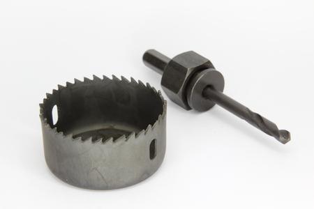 making hole: Set of hole making saw isolated on white background. Stock Photo
