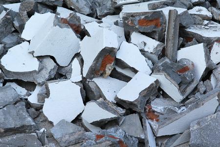 debris: Concrete rubble debris on construction site.