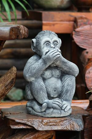 wooden stick: Monkey sculpture on wooden stick.