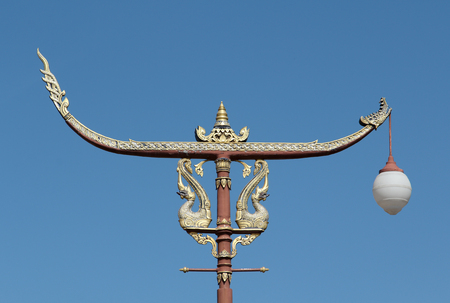 lamp post: Traditional Thai style post lamp, Nan, Thailand. Stock Photo