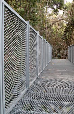 sirikit: Gray metal canopy walkway of Queen Sirikit Botanic Garden, Maerim, Chiangmai,  Thailand.
