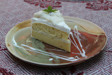 Sweet coconut cake on dish with mint topping.