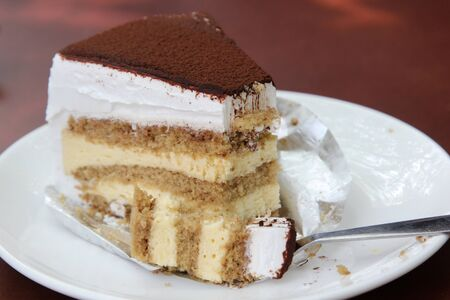 cake topping: Slice of dessert tiramisu cake topping with cocoa powder on the plate.