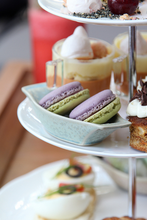 afternoon fancy cake: Afternoon English high tea set. Stock Photo