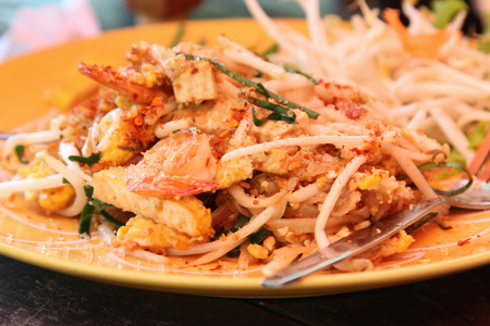 Thai food, padthai or fried noodle with shrimp. Stock Photo