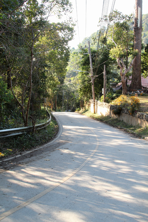 Curve road and mountain view at Mae Kum Pong, Chiangmai, Thailand.