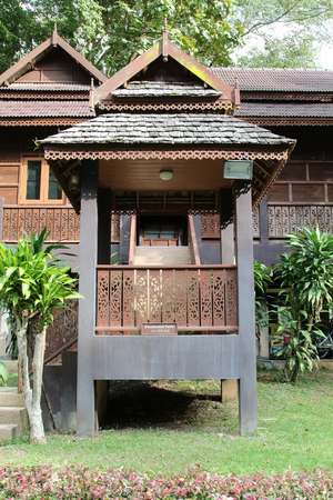 Wooden building of hotel resort, Northern Thailand. Editorial