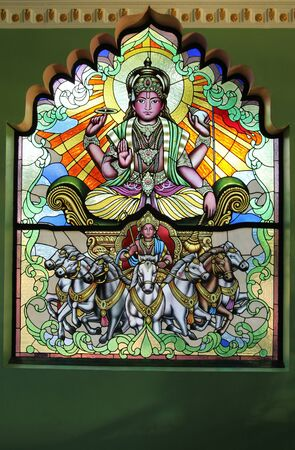 Stained glass window  at Ganesh Museum, Chiangmai, Thailand. Editorial