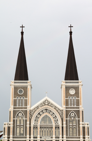 Catholic church on blue sky, Chantaburi, Thailand.