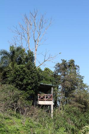 House on green hill at DOI MON-NGO, Maetang, Chiangmai, Thailand. Stockfoto