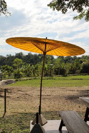 A large yellow umbrella sit on the stand with backdrop is rice fields.