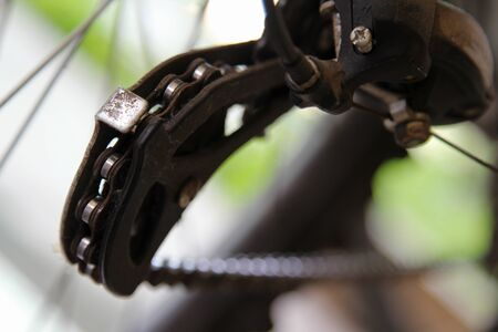 Close up of old motocross bicycle gear. 写真素材