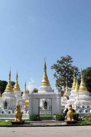 White chedi in Wat Chedi Sao Lang, Lampang, Northern Thailand.