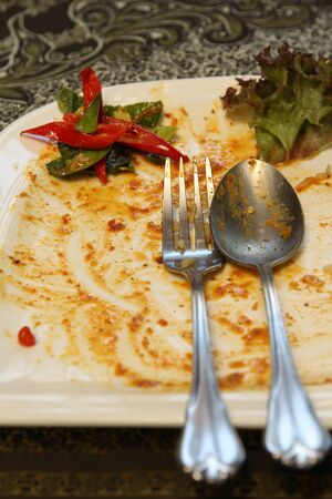 Empty white plate with chilli, cucumber and vegetable after a meal closeup. Stock Photo