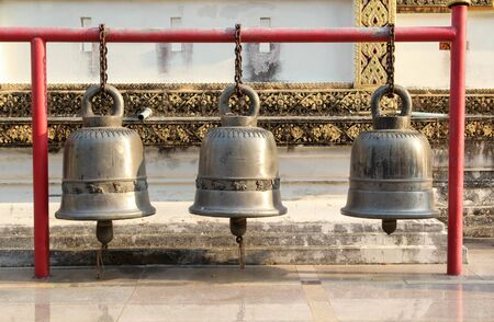 Three big bell at Wat Phra That Su Thon Mongkhon Khiri Samakkhi Tham, Phrae, Northern Thailand.