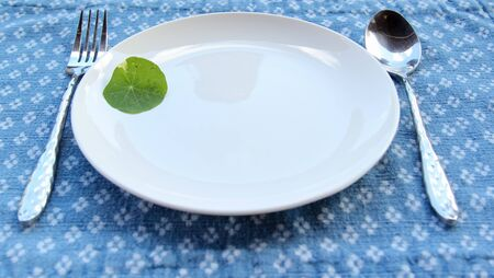 A small green leaves decorated on a white ceramic plate with spoon and fork on blue placemat. Archivio Fotografico - 142847049