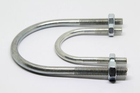 U-bolts screw-nut on white background.