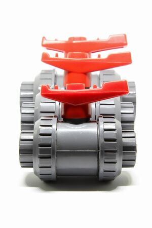 PVC ball valves on white background. 版權商用圖片