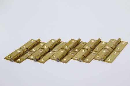 Brass hinge isolated on white background. Stockfoto