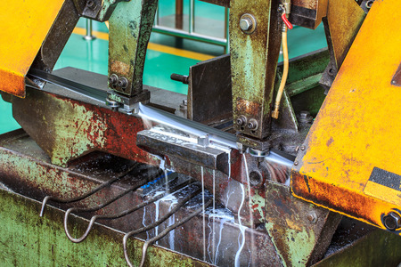 cut off saw: Cutters with cooled steel used in industrial applications. Stock Photo