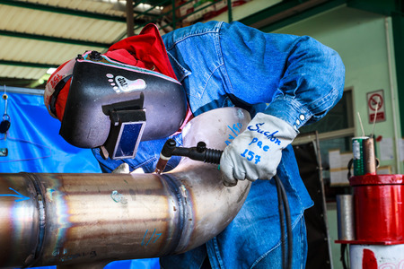 Welding sparks of welders in the industry.
