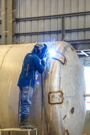 offshore industry: Welding sparks of welders in the offshore industry.