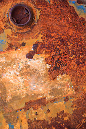 corrosion: Rusty oil tank corrosion in industrial applications. Stock Photo
