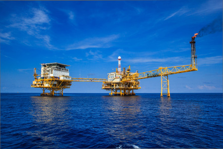 oil pump: Offshore Industry oil and gas production petroleum pipeline.
