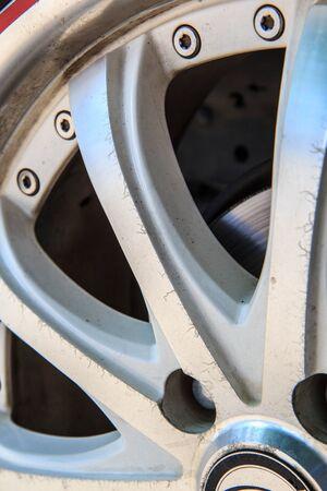 alloy: Alloy wheels, auto white decor. Stock Photo