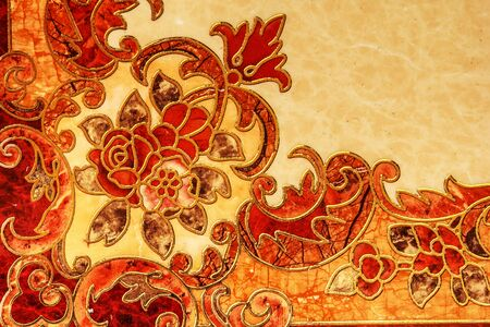 ornaments floral: Tile flooring design beautiful stone patterned background. Stock Photo