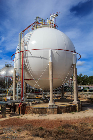 spherical: Spherical tanks containing fuel gas oil refineries.
