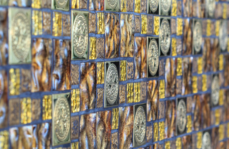 Colorful vintage ceramic tiles wall decoration of texture and background